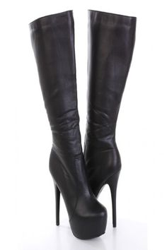 Black Faux Leather AMIclubwear Knee High Platform Boots / Sexy Clubwear | Party…