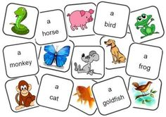 Jeu de mémory sur les animaux anglais