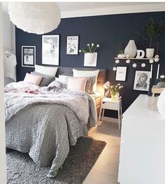 cozy grey and white bedroom ideas; bedroom ideas for small rooms; bedroom decor on a budget; Budget Bedroom, Small Room Bedroom, Blue Bedroom, Home Decor Bedroom, Modern Bedroom, Navy Bedrooms, Master Bedroom, Bedroom Ideas Grey, Bedroom Decorating Ideas