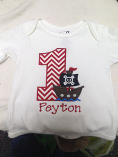 Get this cute Pirate Birthday Shirt!  Any colors and numbers.  $15-$20