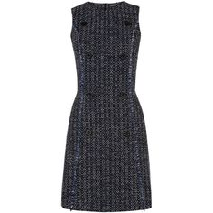 Warehouse Button Front Tweed Dress ($58) ❤ liked on Polyvore featuring dresses, blue, clearance, button dress, round neck dress, shift dress, tweed shift dress and button front dress