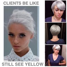 Dry hair and tone with Redken Shades EQ gloss: 1 oz and 1 oz processing solution. No clear. Straight up. Silver Blonde Hair, Icy Blonde, Platinum Blonde, Silver Platinum Hair, Redken Shades Eq, Short Shag Hairstyles, Gray Hairstyles, Formal Hairstyles, Tips Belleza