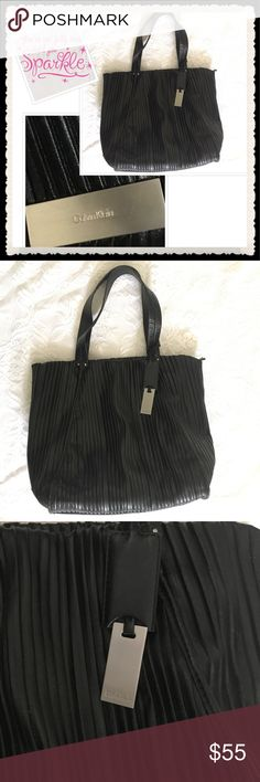 "Calvin Klein Jacquard Handbag Almost new!  Pleated tote Purse by Calvin Klein, color black, features a silver plate signature on the bottom side of the bag, plus another one on the key fob. No stains, no holes, all zippers work, there are a few unnoticeable scratches on the bottom and on the hanging key fob (last pics). Height 14.5"", length 13"", width 8"", handle drop 9"". Use it for work, my iPad fits perfectly in there and there is plenty of room for more items. You can also use it for…"