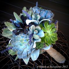 Succulent Bouquet,Succulent Bouquet,Bridal Bouquet, Alternative Bouquet, Bridesmaid Bouquet,Maroon Bouquet,Green bouquet,Burlap Bouquet,. $125.00, via Etsy.