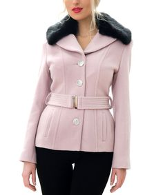 Pink Faux Fur Wool-Blend Belted Coat #zulily #zulilyfinds