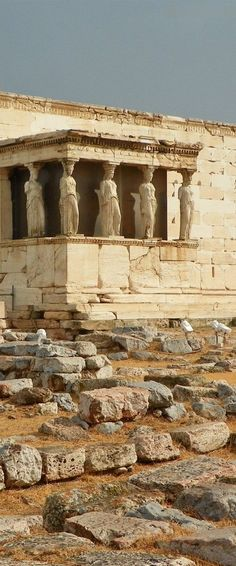 Caryatids (columns in the shape of women) in the Porch of the Maidens, Temple of Erechtheus (Erechtheion), Athenian Acropolis