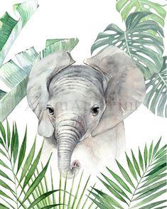 Baby jungle kwekerij prenten Safari jungle dieren groene | Etsy