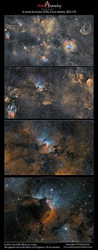 Zooming in to the Cave Nebula, Sh2-155