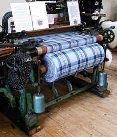 Old Weaving Loom with the Diana Memorial Tartan at Lochcarron Weavers, Lochcarron.