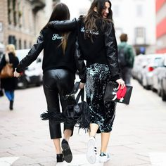 Styling Ideas To Steal From Milan Fashion Week | The Zoe Report..sneakers with sequins