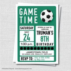 Custom Soccer Birthday Invitation Soccer por KatarinasPaperie