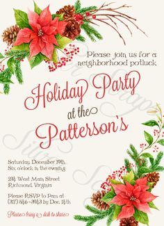 A beautiful custom Christmas invitation for a Christmas, holiday, potluck, office, company, neighborhood, or dinner party, provided in a printable JPEG file. DIY digital red poinsettia flower floral wreath pine needles pinecones red berries berry brown twigs black white ecru white-washed wood grey woodgrain rustic traditional classic modern lunch office work company