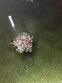 Handmade, 925 Sterling Silver wire with glass flowers and copper