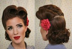 Different Hairstyles : Vintage Victory Roll Hairstyle With Flower Accessories For Short Thick Wavy Hair The Steps of Making Victory Roll Hairstyle How To Do Victory Rolls Hairstyle. 1940 Victory Rolls Hairstyle. Victory Rolls Hairstyle Tutorial.