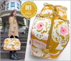 Quilted Travel Duffle (free tutorial) with Rolling Case Sleeve: Dritz Hardware Duffle Bag Patterns, Bag Patterns To Sew, Sac Week End, Cabin Bag, Diy Sac, Bag Illustration, Bag Pattern Free, Fabric Bags, Cute Bags
