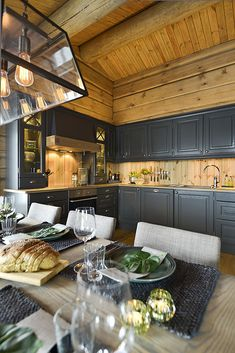 Tiny House Cabin, Cabin Homes, Log Homes, Small Cabin Kitchens, Log Home Kitchens, Rustic Kitchen, New Kitchen, Kitchen Dining, Log Home Interiors