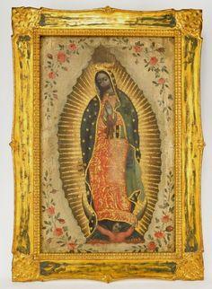 Anónimo mexicano, Virgen de Guadalupe. óleo sobre tabla, 50  x 31.7 cm., ca. 1840-1900, colección particular, catalogación: Juan Carlos Cancino.