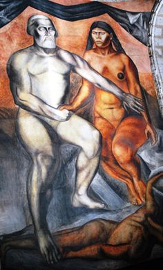 Mural of Malinche and Cortés by Jose Clemente Orozco, from Thelmadatter via Wikimedia Commons.