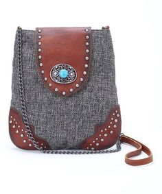 Look what I found on #zulily! Gray & Brown Stud Leather Crossbody Bag by I Love Accessories #zulilyfinds