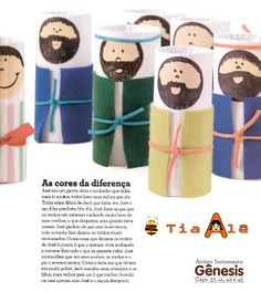 Bible characters made from TP rolls. Cover TP roll with white paper (glue). Make a beige colored circle. Draw on face. Glue on TP roll. Now cut out a smaller rectangle from colored paper/ felt/ cloth to make different sorts of coats. Tie with ribbon, yarn, wol... Voila. Can be used in various stories.