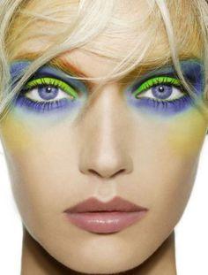 Blue & green shadow makes a statement l eyes- Illamasqua lime green eyeshadow in Dare http://www.sephora.com/powder-eye-shadow-P241711?skuId=1194828