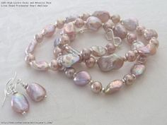 High Lustre Keshi and Metallic Rose Lilac Round Freshwater Pearl Necklace