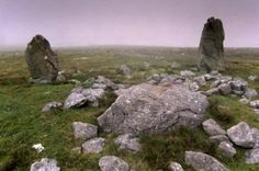 Beorgs of Housetter Standing Stones, Northmavine, Shetland Islands, Scotland. Two standing stones, with the remains of a cairn.Photographic Print from Robert Harding.