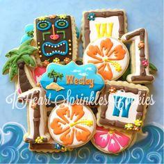 Hawaii cookies, Hawaiian cookies, tiki cookies, birthday cookies