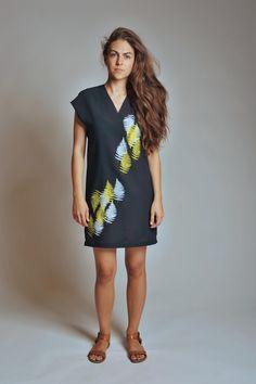 """Beautiful handmade dress with silkscreen print """"From moss and fern"""""""