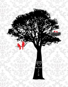 Personalized Family Tree with birds Personalized by fancyprints, $24.00. LOVE LOVE LOVE This