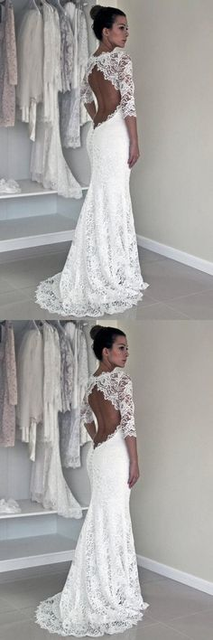Long Wedding Dresses,Cheap Wedding Gowns,Lace Wedding Dresses,Open Back Wedding Gown,Long Sleeve Wedding Dresses,Mermaid Wedding Dress #weddinggowns