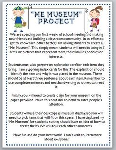 """""""me museum"""" project for the first week of school"""