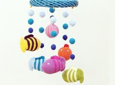 Crochet baby mobile with fish and lake  colorful by spikycake, 80.00