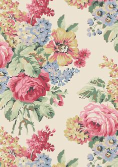 Bloomsbury Bouquet   A sophisticated full bloom fashion floral from SS13 that brims with lush bouquets of our favourite roses and other English flowers. This striking design references traditional upholstery fabrics  Cath Kidston Library Collection AW15  