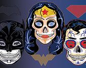 Justice League Sugar Skull 11x17 Print w/ Batman, Superman & Wonder Woman