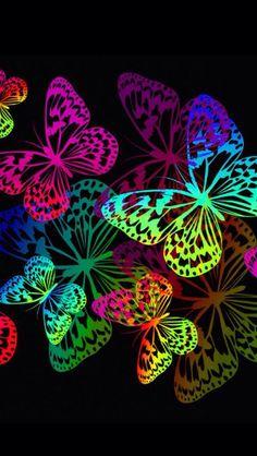 By Artist Unknown. Butterfly Drawing, Butterfly Pictures, Butterfly Painting, Butterfly Wallpaper, Love Wallpaper, Colorful Wallpaper, Wallpaper Backgrounds, Rainbow Butterfly, Butterfly Flowers