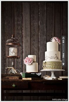 Yes - Vintage Bird Cage Trio by Intricate Icings  | | CHECK OUT MORE GREAT VINTAGE WEDDING IDEAS AT WEDDINGPINS.NET | #weddings #vintagewedding #weddingvintage #oldweddingphotos #events #forweddings #iloveweddings #romance #vintage #planners #old #ceremonyphotos #weddingphotos #weddingpictures