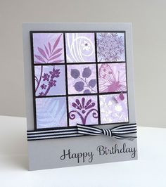 handmade card: Inchie Challenge #3 by Stampin Sue ... 3X3 block of inches punched from collage style stamping in purples ... luv how they look mounted on black square ... trendy gray card base ... lovely card!