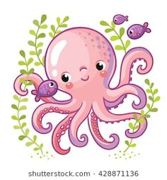 Buy Cartoon Young Octopus by svaga on GraphicRiver. Cartoon young octopus surrounded by small sea fish and seaweed. Vector illustration in cartoon style for summer sea t. Octopus Drawing, Fish Drawings, Art Drawings For Kids, Cartoon Drawings, Animal Drawings, Cute Drawings, Fish Drawing For Kids, Octopus Painting, Octopus Illustration