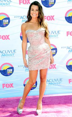 Lea Michele in a Versace dress, Versace shoes, a Marchesa bag and Stephen Webster jewels at the 2012 Teen Choice Awards.