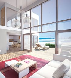 Beach house with huge windows, house design, modern architecture