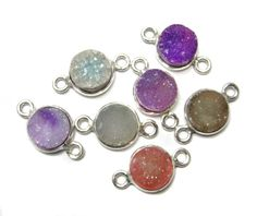925 Sterling Silver Bezel druzy Connectors  fine by finegemstone, $28.00