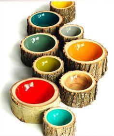 Cadeau Creatief met hout (boomstam kommetjes)