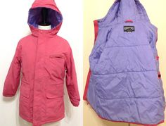 Lands End Girls 7-8 Pink Winter Jacket Coat Hood Used Purple Inside Warm Cute #LandsEnd