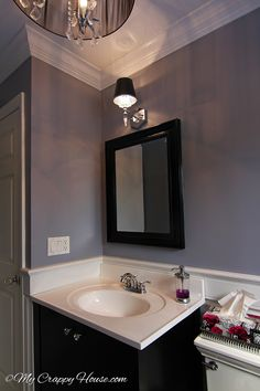 Love This Bathroom Perfect Shade Of Light Gray Lavender Excalibur By Benjamin Moore With The Black Mirror And Sink Vanity From Mycrappyhouse