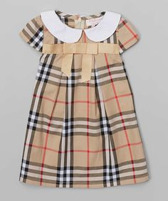 Love this Tan Plaid Pleated Dress - Infant, Toddler & Girls by Emily Lacey on #zulily! #zulilyfinds
