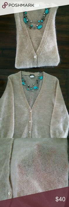 """J. CREW V-neck Mohair blend Cardigan Adorable JCREW 6-button cardigan, light tan.  Style 18605.  61% Mohair, 31% Nylon, 8% Wool.  Fabric is delicate, lightweight and see thru.  3/4 length sleeves.  3"""" stretchy banding on sleeves and bottom of sweater. The cardigan shows the mohair over entire sweater, very unique look.  EUC, no pulls, fading, pills or holes.  Dry cleaned only.  Stretchy,  could easily fit a medium. Bust 18"""" Length 28"""" Sleeves 12"""" J. Crew Sweaters Cardigans"""
