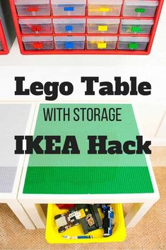 Need more Lego storage? This simple IKEA hack will add plenty of storage under the IKEA Lack table! Sort Lego pieces by color and shape with the overhead bins. What a great way to get some Lego organization in the kids playroom! Lego Table Ikea, Lego Table With Storage, Ikea Lack Table, Lego Storage, Ikea Storage, Lack Table Hack, Storage Organizers, Storage Hacks, Craft Storage