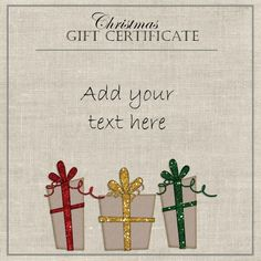 elegant gift certificate template with three gifts with red yellow and green ribbons free coffee