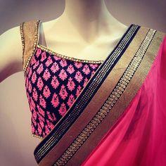 Flora Collections Pink & Black #Saree #Blouse.